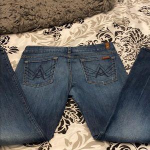 7 fam women's a pocket, size 33, flare leg
